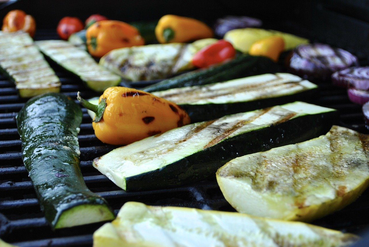 Grilled zucchini among other vegetables