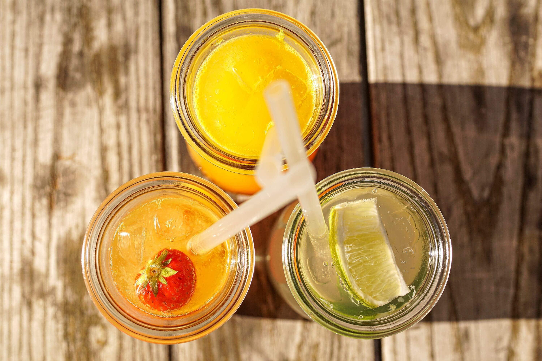 overhead shot of three summer drinks